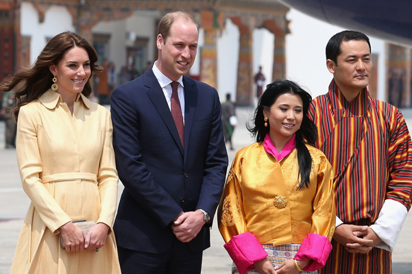 THIMPHU, BHUTAN - APRIL 14: The Duke and Duchess of Cambridge arrive into Paro International Airport for the first day of a two day visit to Bhutan on April 14, 2016 in Paro, Bhutan. The Royal couple are visiting Bhutan as part of a week long visit to India and Bhutan that has taken in cities such as Mumbai, Delhi, Kaziranga, Bhutan and Agra. (Photo by Chris Jackson/Getty Images)