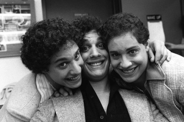 "Recently re-united triplets pose at NBC-TV morning of Sept.26, 1980 after an appearance on the ""Today Show"" in New York. The brothers, adopted at birth by three separate families in the New York metropolitan area, only learned of each other's existence earlier in the week. From left, are: Robert Shafran; Eddy Gelland; and David Kellman. (AP Photo/Dave Pickoff)"