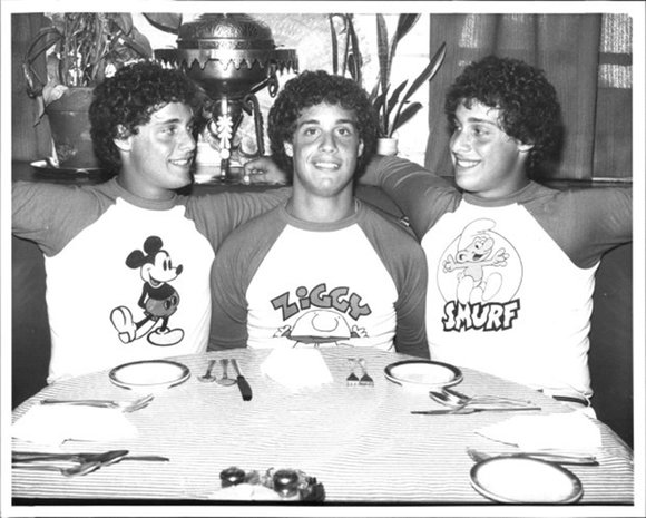 Eddy Galland, left, in the Mickey Mouse shirt, David Kellman, center, in the Ziggy shirt, and Robert Shafron, right, wearing a Smurf shirt are triplets separated at birth. July 06, 1981. (Photo by Jerry Engel/New York Post Archives /(c) NYP Holdings, Inc. via Getty Images)